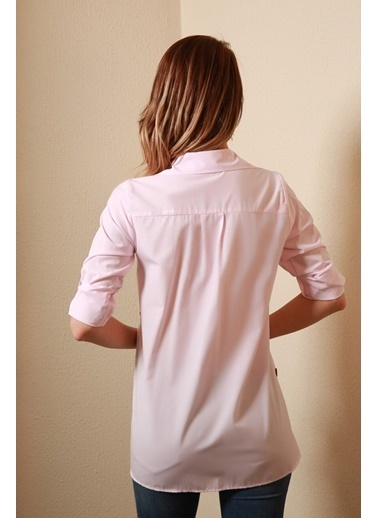 Reyon Uzun Kollu Kadın Gömlek  Pudra Pudra